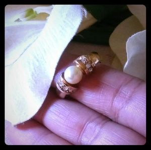 Vintage Faux Pearl & Crystal Accent Ring